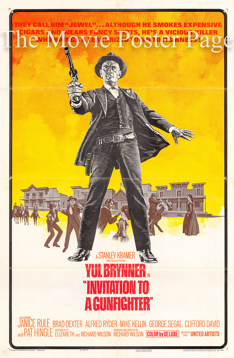 Pictured is a US one-sheet poster for the 1964 Richard Wilson film Invitation to a Gunfighter starring Yul Brynner.