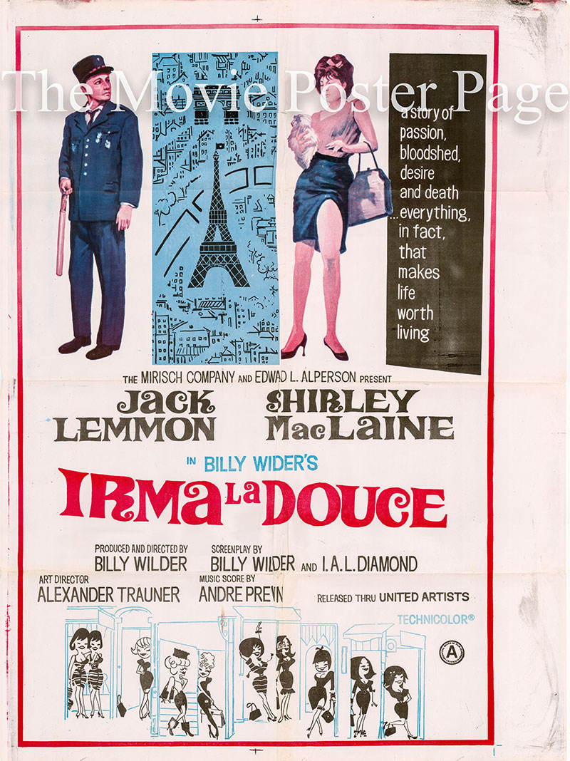 Pictured is an Indian promotional poster for the 1963 Billy Wilder film Irma La Douce starring Jack Lemmon.