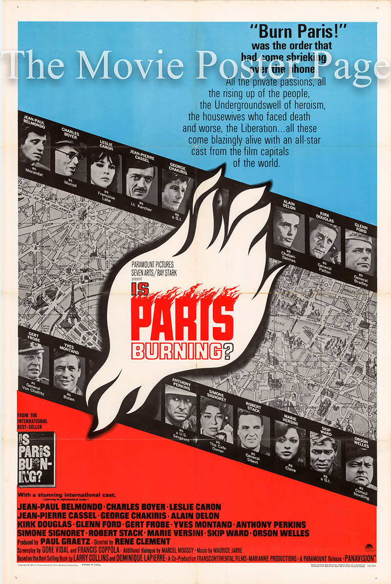Pictured is a US one-sheet poster for the 1966 Rene Clement film Is Paris Burning? starring Jean-Paul Belmondo.