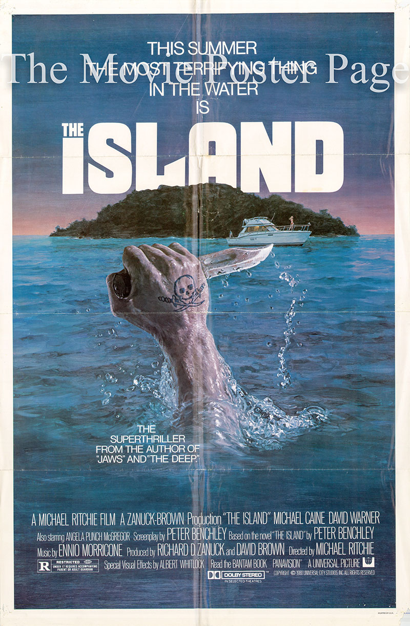 Pictured is a US one-sheet poster for the 1980 Michael Richie film The Island starring Michael Caine.