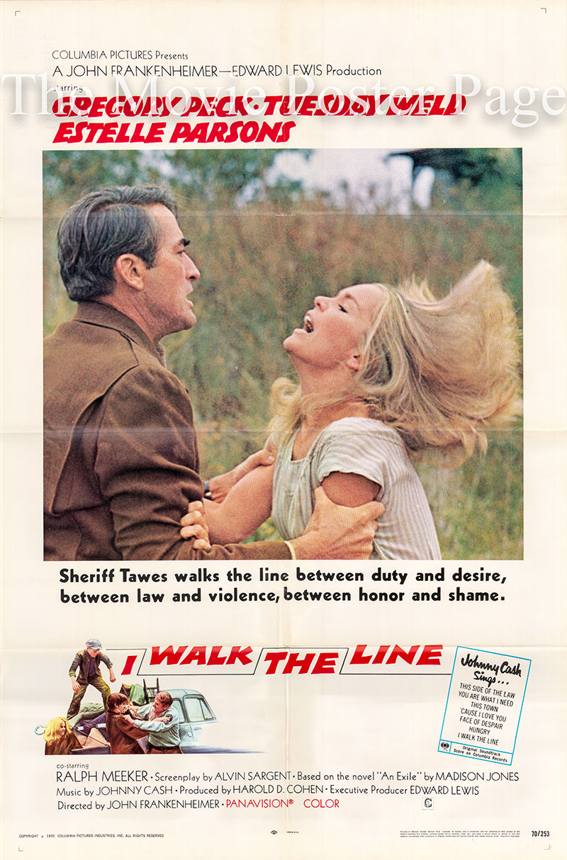 Pictured is a US one-sheet poster for the 1970 John Frankenheimer film I Walk the Line starring Gregory Peck.