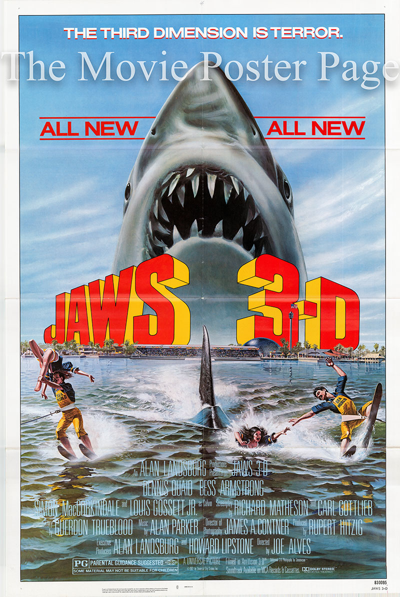 Pictured is a US one-sheet poster for the 1983 John Alves film Jaws 3-D starring Dennis Quaid as Mike Brody.