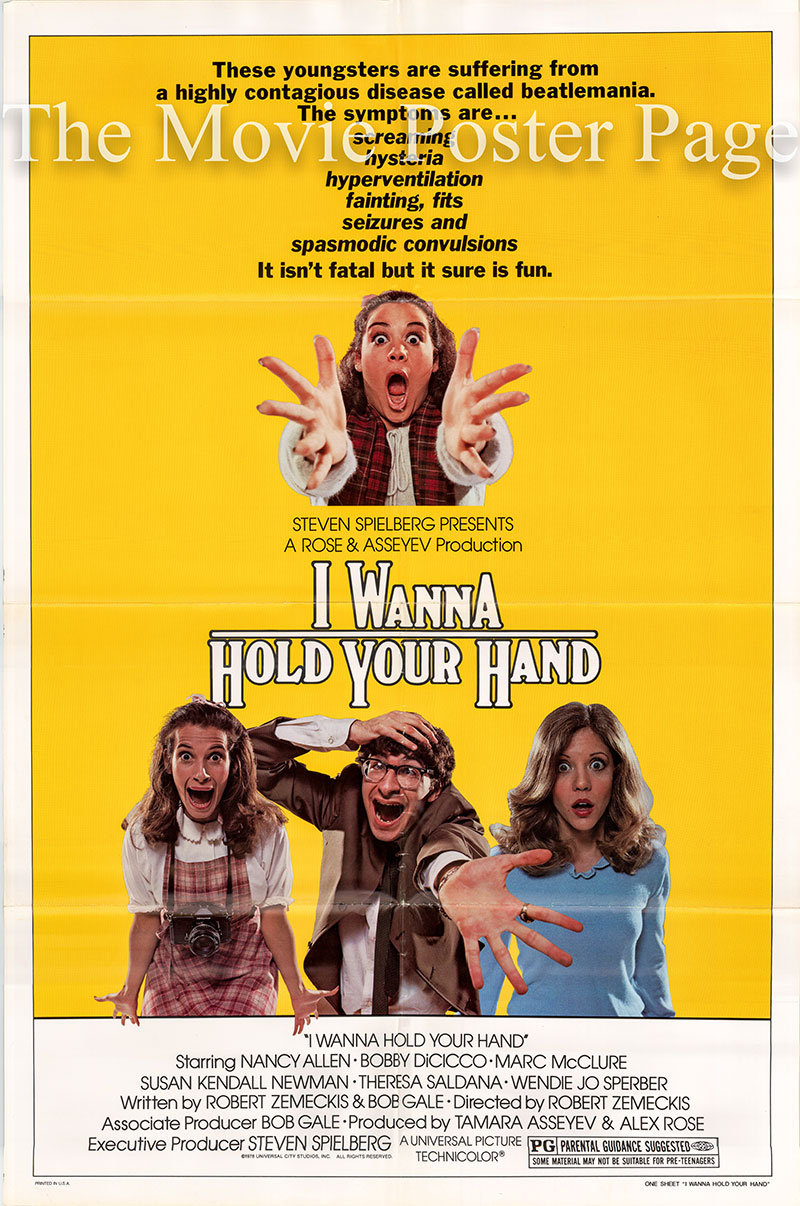 Pictured is a US one-sheet poster for the 1978 Robert Zemeckis film I Wanna Hold Your Hand starring Nancy Allen.