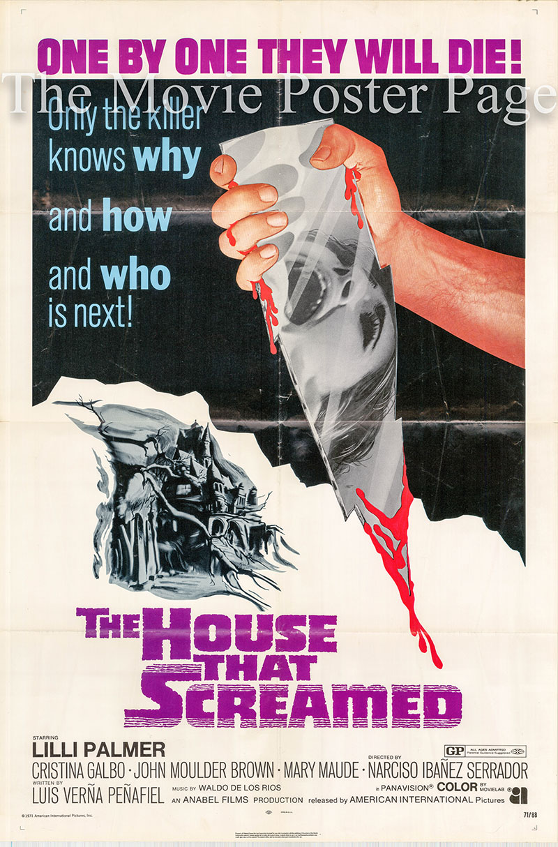 Pictured is a US one-sheet poster for the Narciso Ibanez Serador film The House that Screamed starring Lilli Palmer.