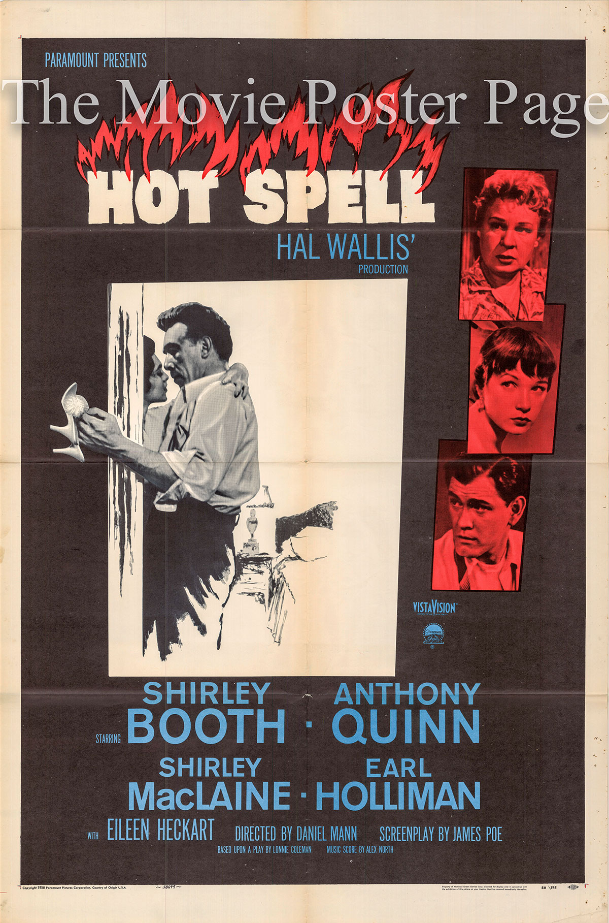 Pictured is a US one-sheet poster for the 1958 Daniel Mann film Hot Spell starring Anthony Quinn.
