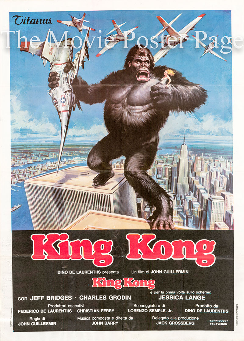 Pictured is an Italian two-sheet poster f9r the 1976 John Guillermin film King Kong starring Jessica Lange.