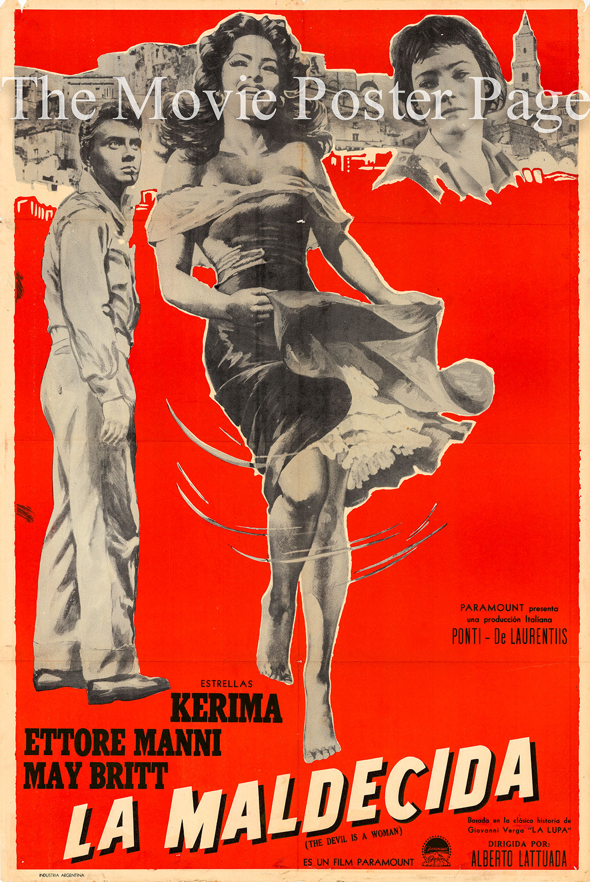 Pictured is an Argentine one-sheet poster for the 1955 Carmine Gallone film Fatal Desire starring May Britt as Santuzza.