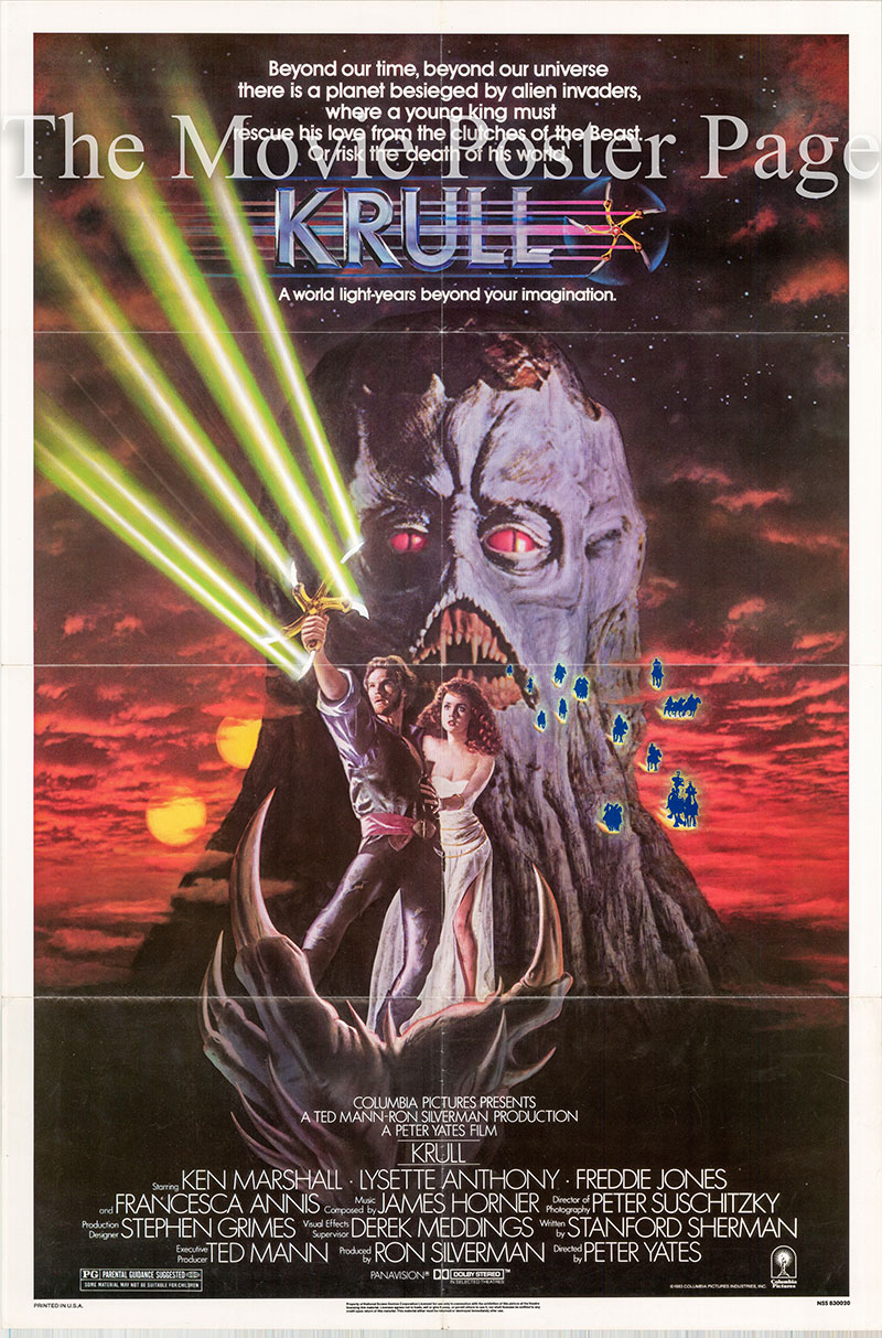 Pictured is a US one-sheet poster for the 1983 Peter Yates film Krull starring Ken Marshall.