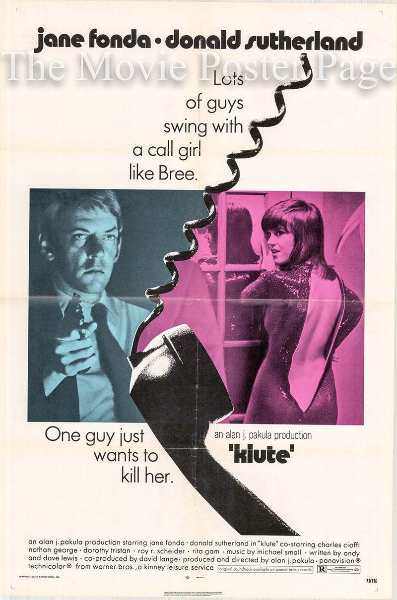 Pictured is a US one-sheet promotional poster for the 1971 Alan J. Pakula film Klute starring Jane Fonda.