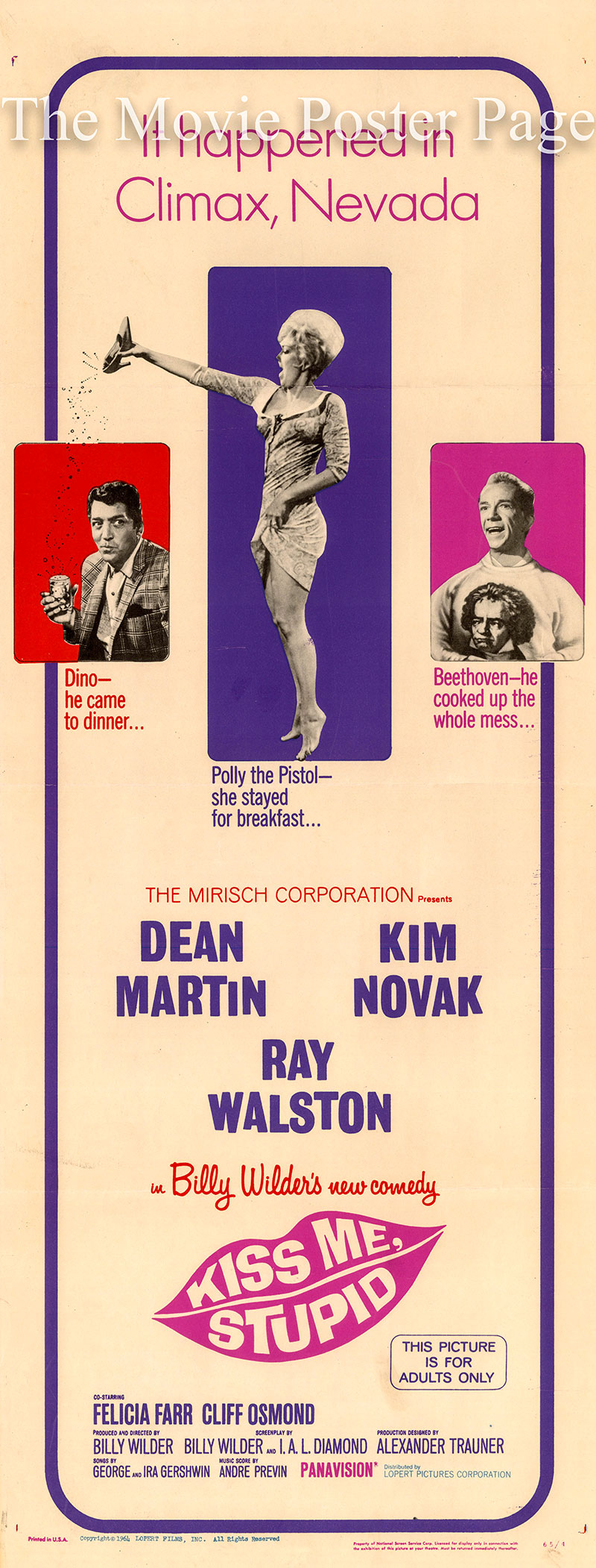 Pictured is a US insert poster for the 1965 Billy Wilder film Kiss Me Stupid starring Dean Martin.