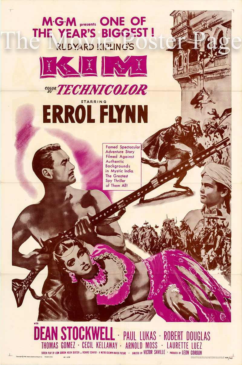 Pictured is a US duotone one-sheet poster for a 1962 rerelease of the 1950 Victor Saville film Kim starring Errol Flynn as Mahbub Ali.
