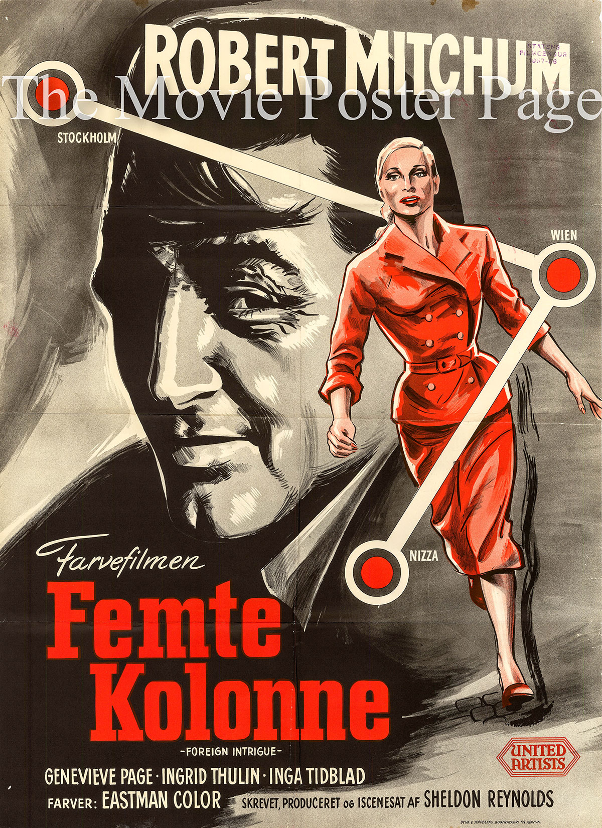 Pictured is a Danish promotional poster for the 1956 Sheldon Reynolds film Foreign Intrigue starring Robert Mitchum.