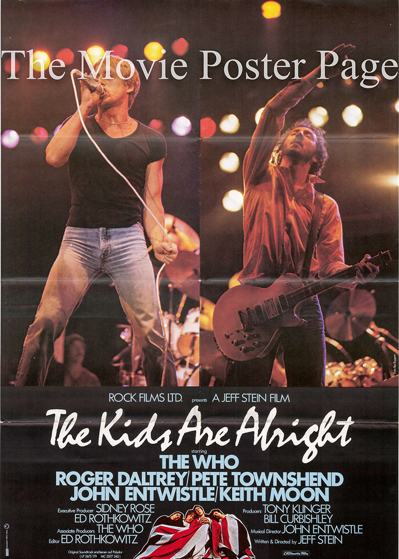 Pictured is a German one-sheet for the 1979 Jeff Stein film The Kids are Alright starring the Who.