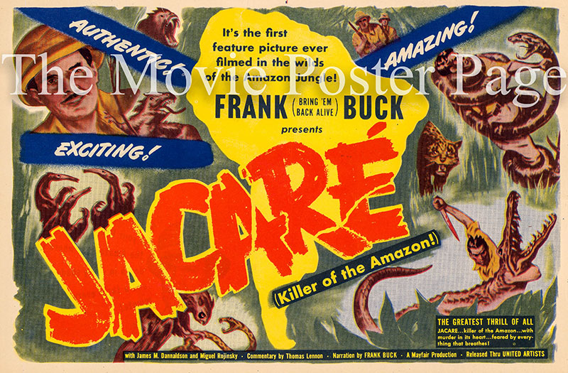 Pictured is a US 7x10 herald for the 1942 Charles E. Ford documentary film Jacare starring Frank Buck as himself.