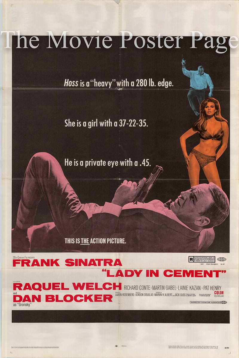 Pictured is a US one-sheet poster for the 1968 Gordon Douglas film Lady in Cement starring Frank Sinatra.