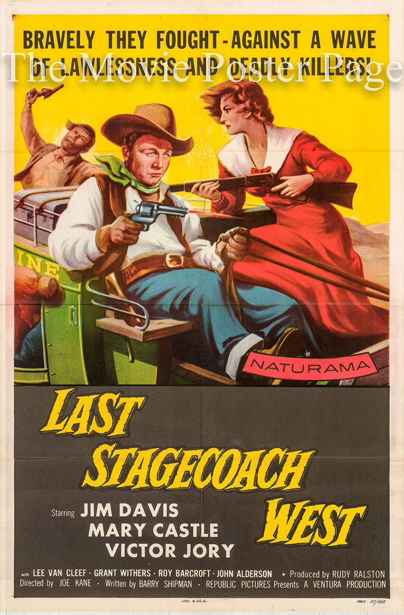 Pictured is a US one-sheet poster for the 1957 Joe Kane film Last Stagecoach West starring Jim Davis.