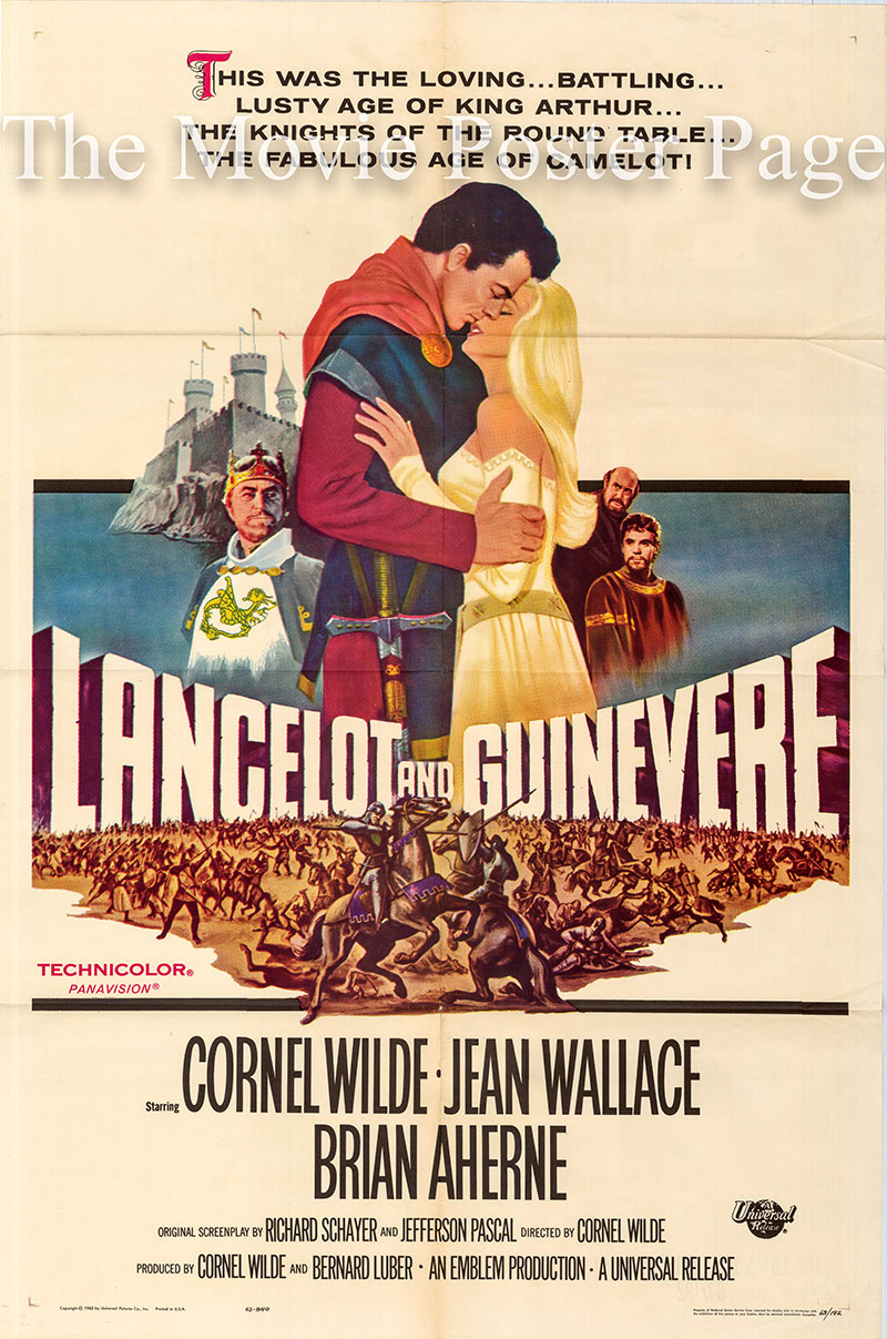 Pictured is a US one-sheet poster for the 1963 Cornel Wilde film Lancelot and Guinevere starring Cornel Wilde.