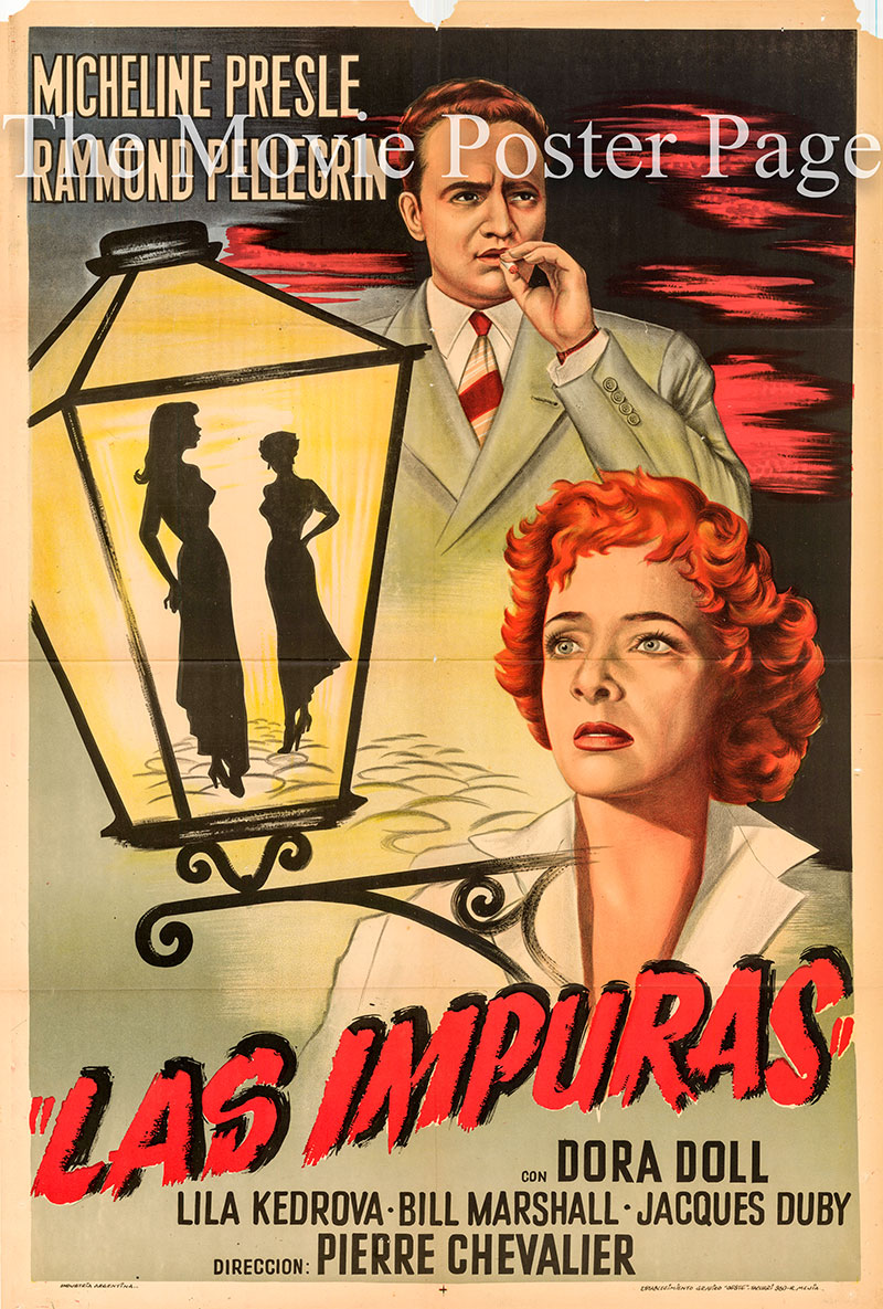 Pictured is an Argentine one-sheet poster for the 1955 Pierre Chevalier film Human Cargo starring Micheline Presle.