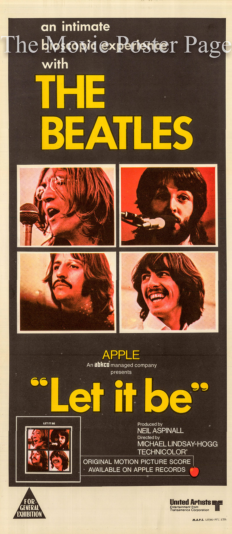 Pictured is an Australian daybill poster for the 1970 Michael Lindsay-Hogg film Let it Be starring the Beatles.