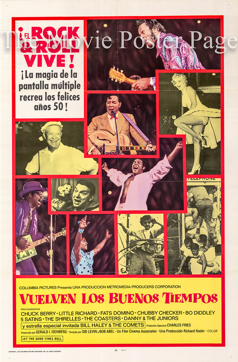 Pictured is a Spanish one-sheet promotional poster for the 1973 Sid Levin and Bob Levin film Let the Good Times Roll starring Chuck Berry.