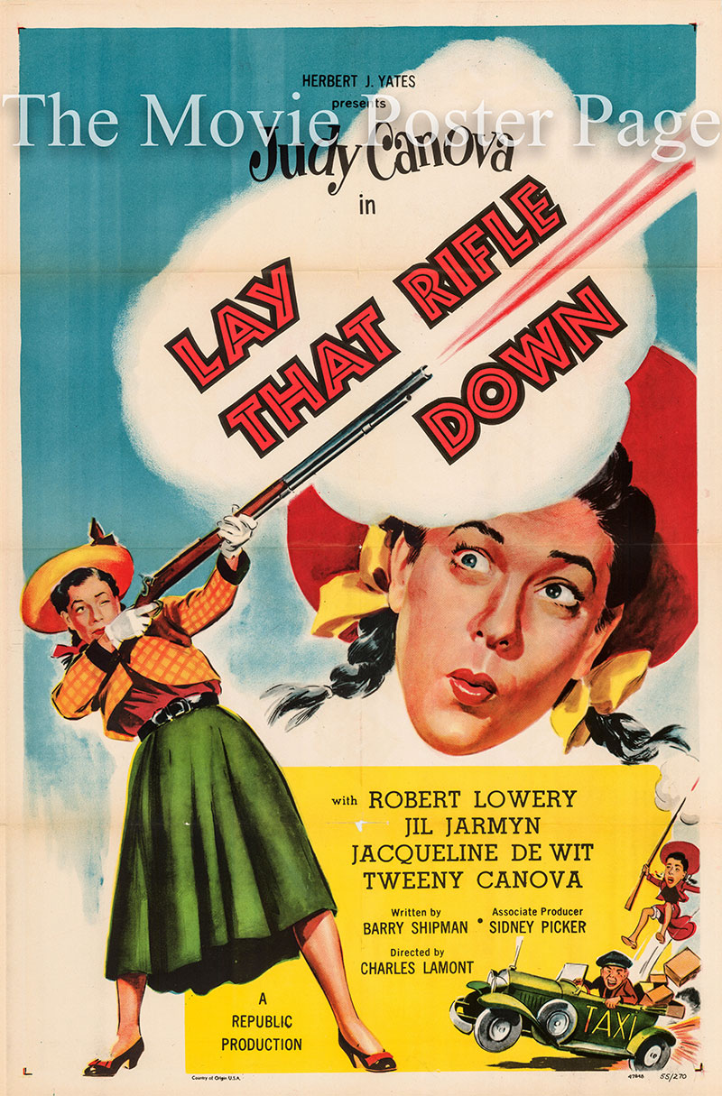 Pictured is a US one-sheet poster for the 1955 Charles Lamont film Lay that Rifle Down starring Judy Canova.