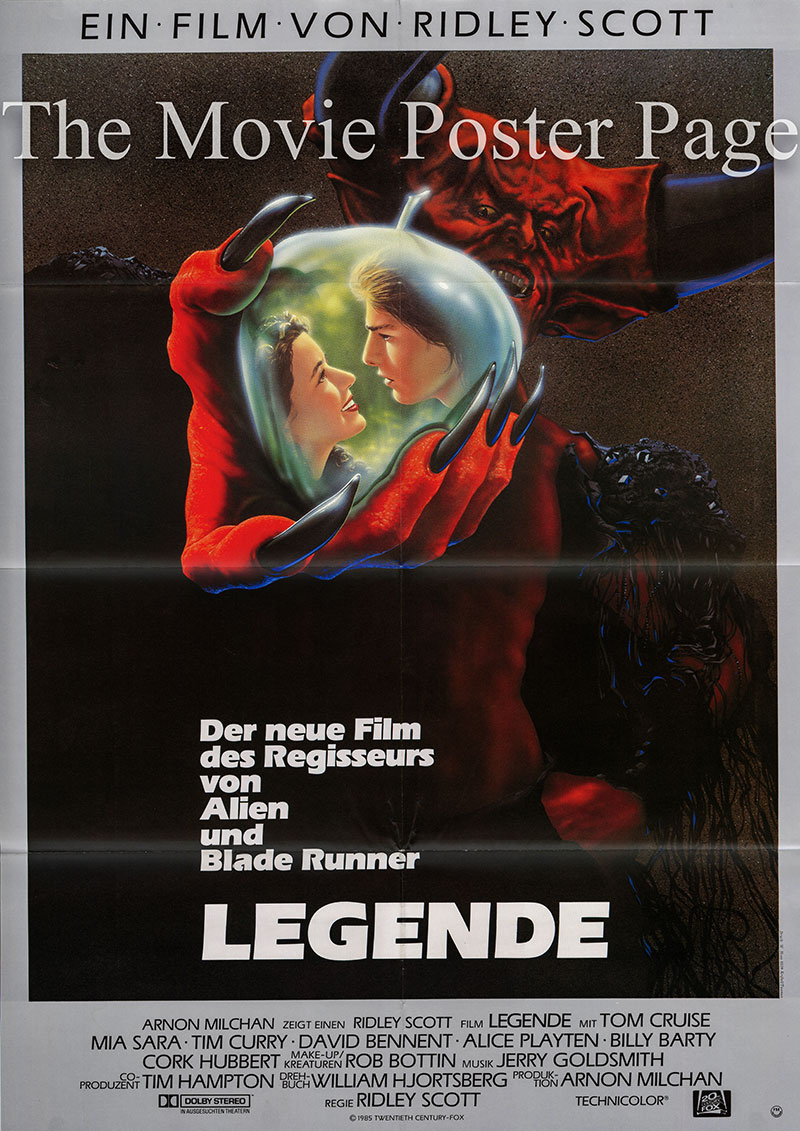 Pictured is a German one-sheet poster for the 1986 Ridley Scott film Legend starring Tom Cruise.