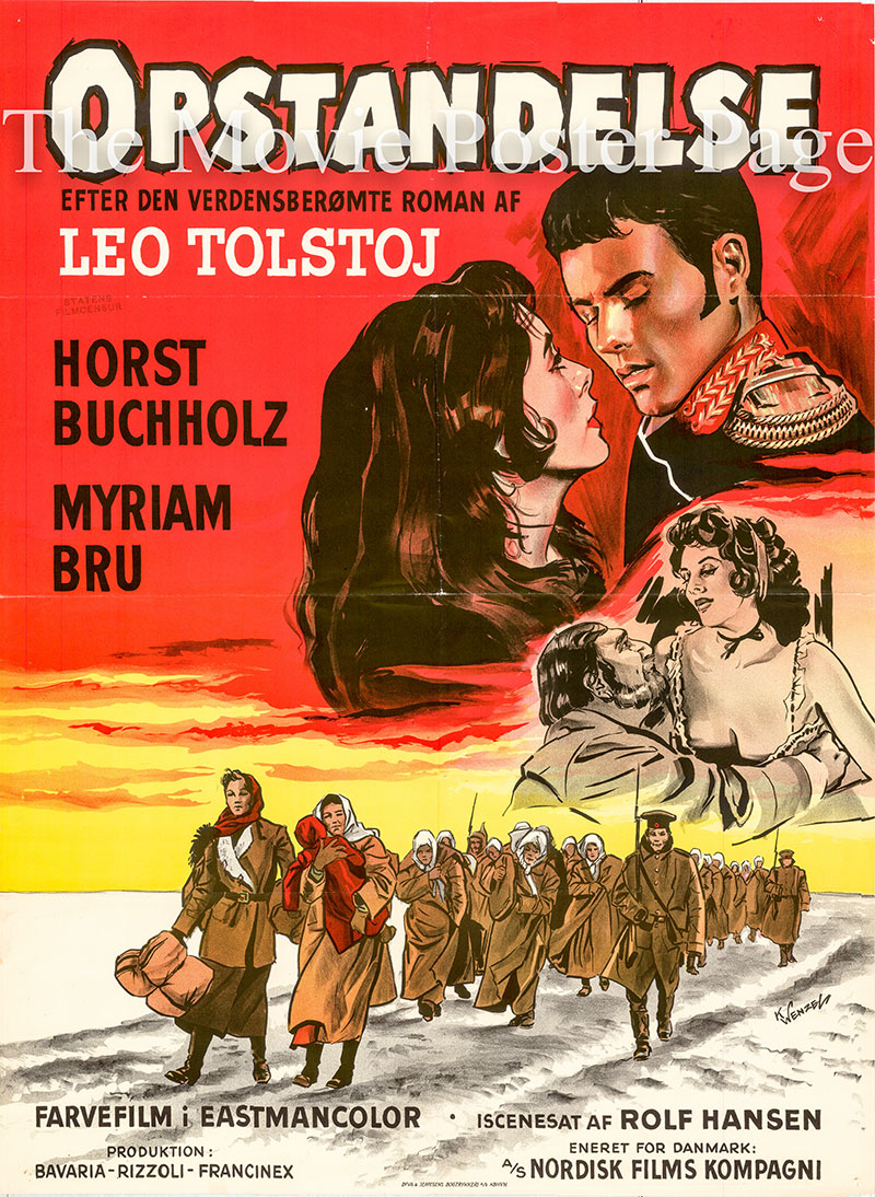 Pictured is a Danish poster for the 1958 Rolf Hansen film Resurrection strarring Horst Buchholz as Nechijudoff.
