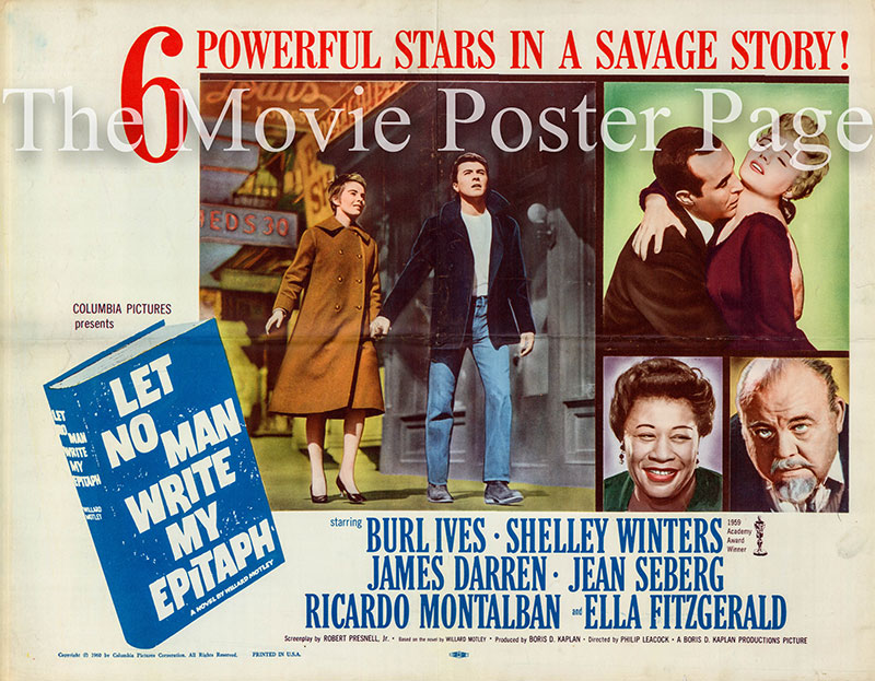 Pictured is a US half-sheet poster for the 1960 Philip Leacock film Let No Man Write My Epitaph starring James Darren.