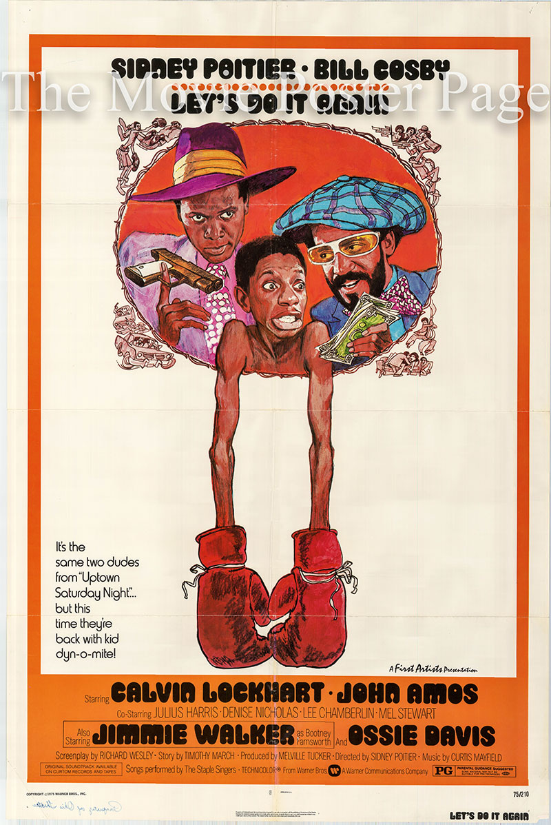Pictured is a US one-sheet poster for the 1975 Sidney Poitier film Let's Do it Again starring Sidney Poitier.