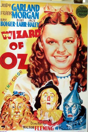Pictured is an Italian reprint of a promotional poster for the 1939 Victor Fleming film The Wizard of Oz starring Judy Garland.