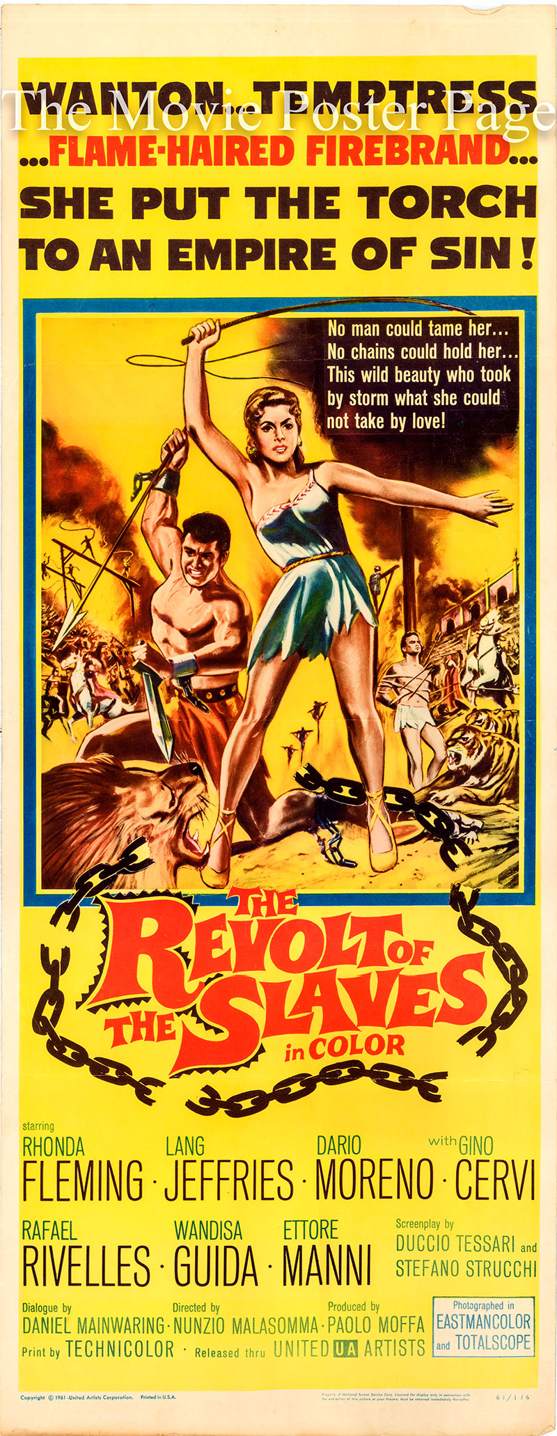 Pictured is a US insert poster for the 1960 Nunzio Malassoma film The Revolt of the Slaves starring Rhonda Fleming as Fabiola.