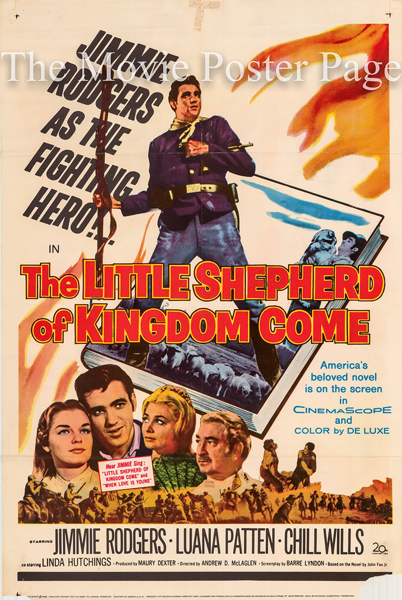 Pictured is a US one-sheet poster for the 1961 Andrew V. McLaglen film The Little Shepherd of Kingdom Come starring Jimmie Rodgers as Chad.