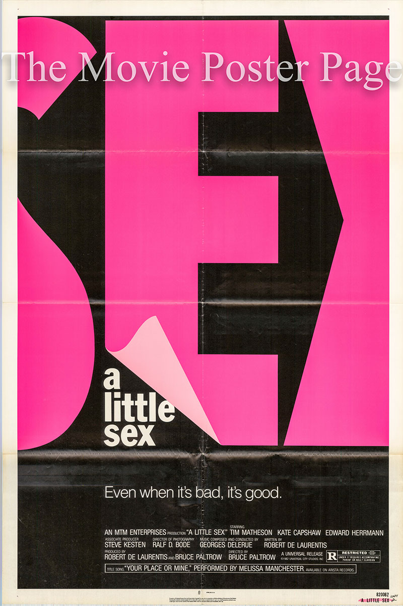 Pictured is a US one-sheet poster for the 1982 Bruce Paltrow film A Little Sex starring Tim Matheson.