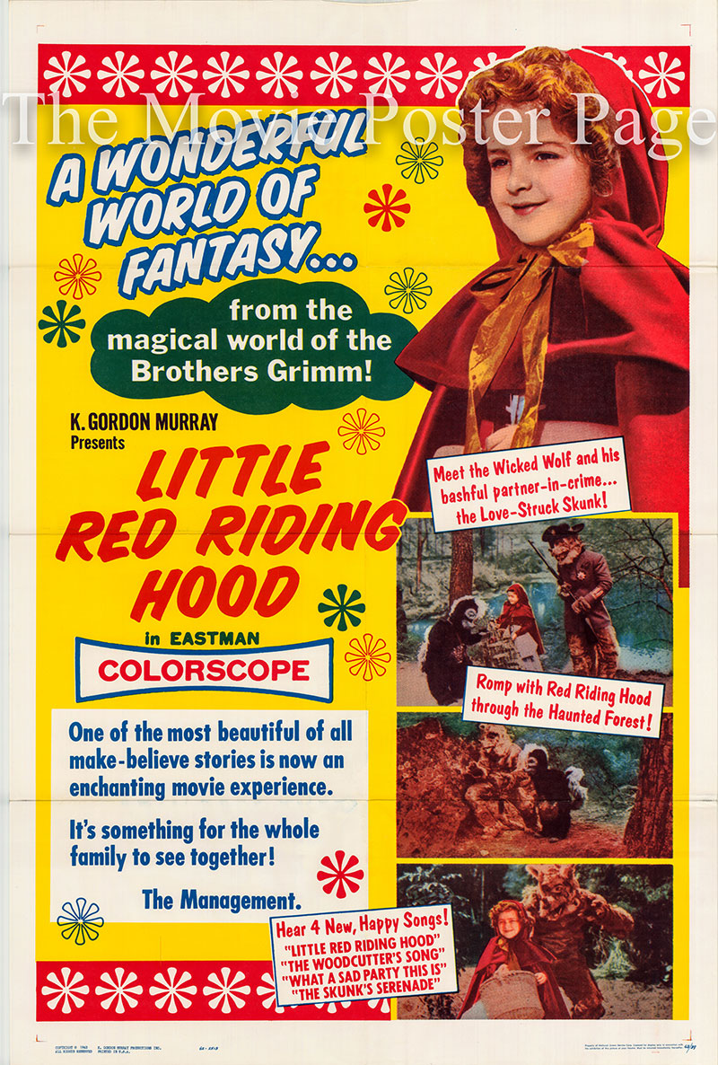 Pictured is a US one-sheet poster for the 1963 K. Gordon Murray film Little Red Riding Hood starring Maria Garcia as Little Red Riding Hood.