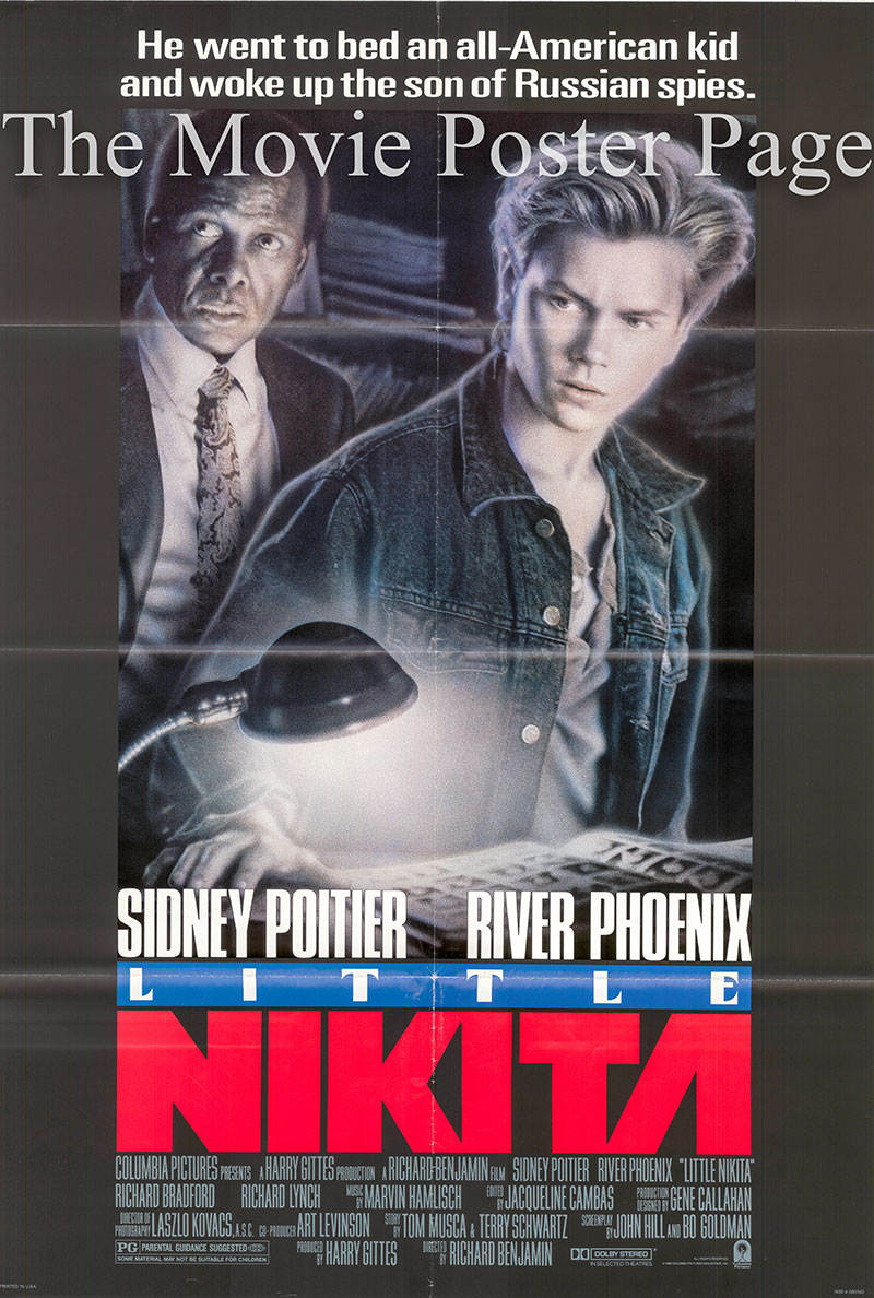 Pictured is a US ones-sheet poster for the 1988 Richard Benjamin film Little Nikita starring Sidney Poitier and River Phoenix.