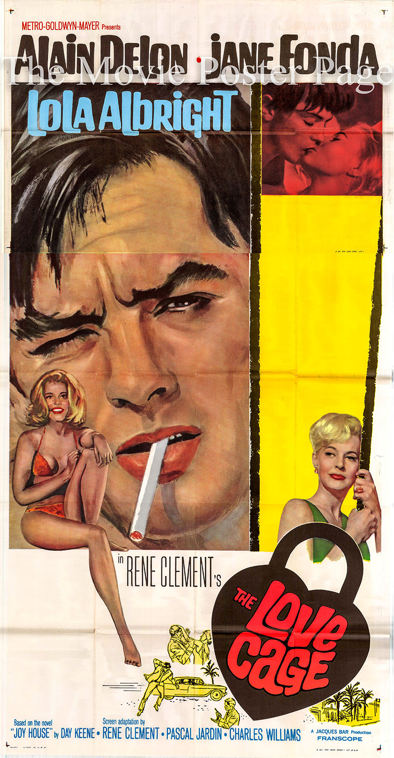 Pictured is a US three-sheet poster for the 1964 Rene Clement film The Love Cage starring Alain Delon.
