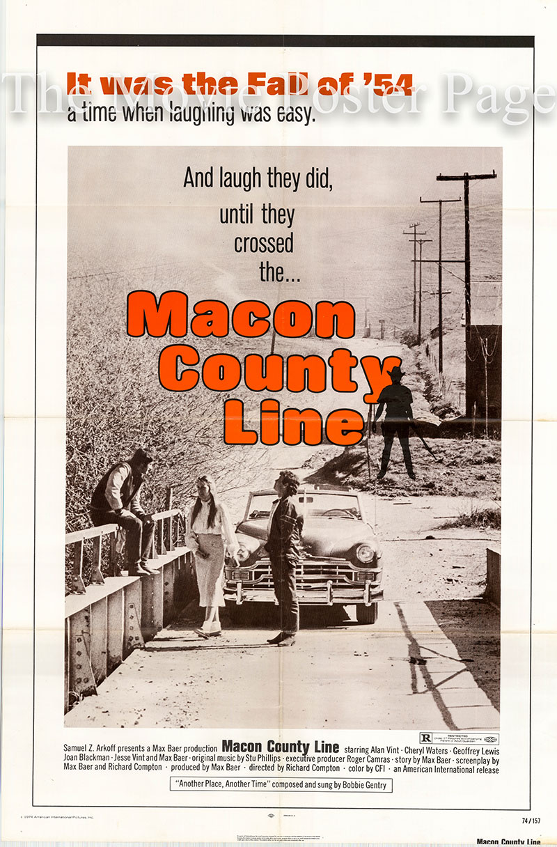 Pictured is a US one-sheet poster for the 1974 Richard Compton film Macon County Line starring Richard Vint.