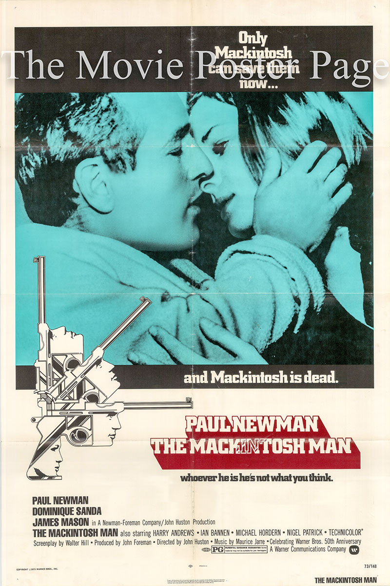 Pictured is a US one-sheet poster for the 1973 John Huston Film The Mackintosh Man starring Paul Newman.