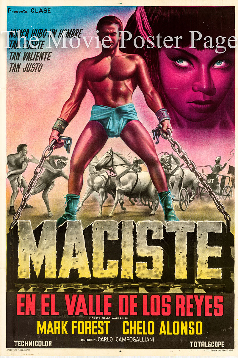Pictured is an Argentine one-sheet poster for the 1960 Carlo Campogalliani film Son of Samson starring Mark Forest as Maciste.