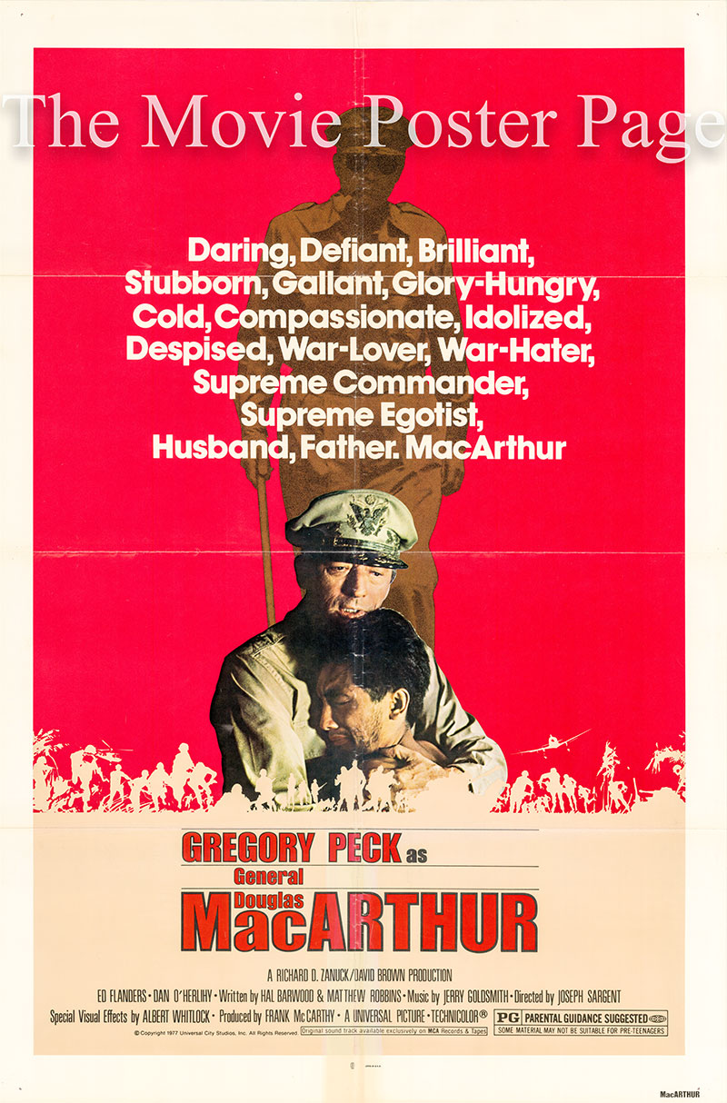 Pictured is a US one-sheet poster for the 1977 Joseph Sargent film MacArtuhur starring Gregory Peck as Douglas MacArthur.