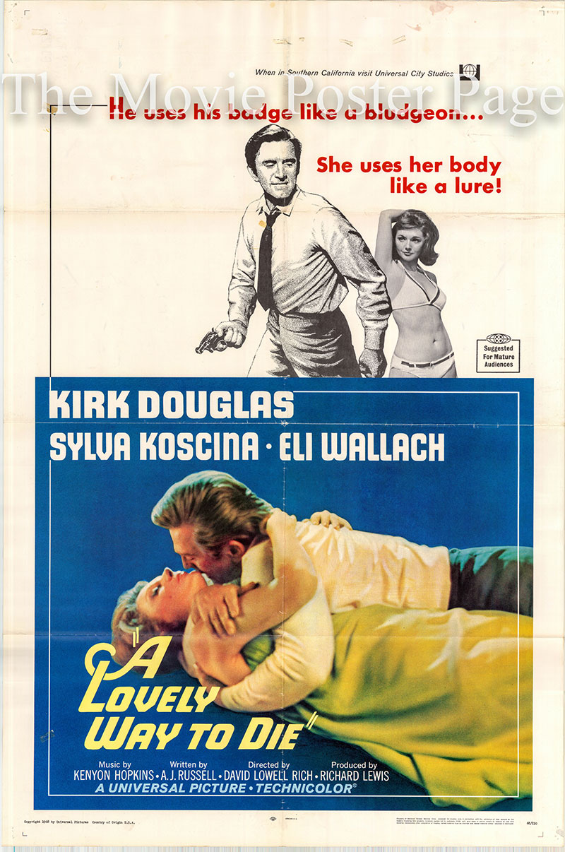 Pictured is a US one-sheet poster for the 1968 David Lowell Rich film A Lovely Way to Die starring Kirk Douglas.