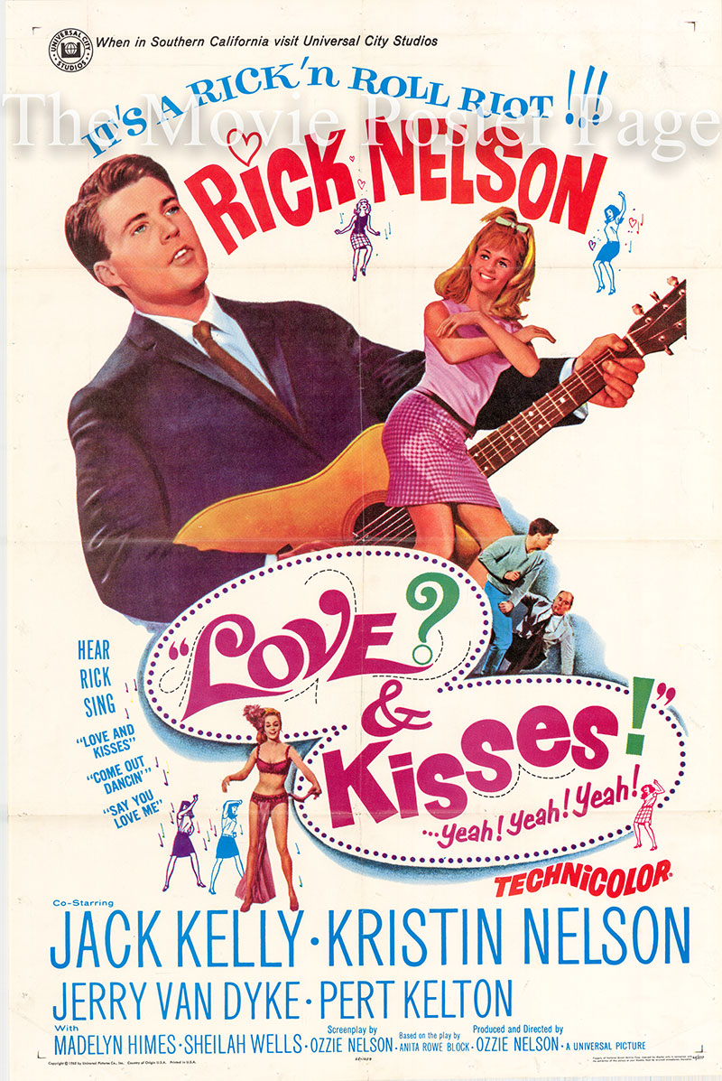 Pictured is a US one-sheet poster for the 1965 Ozzie Nelson film Love and Kisses starring Rick Nelson.