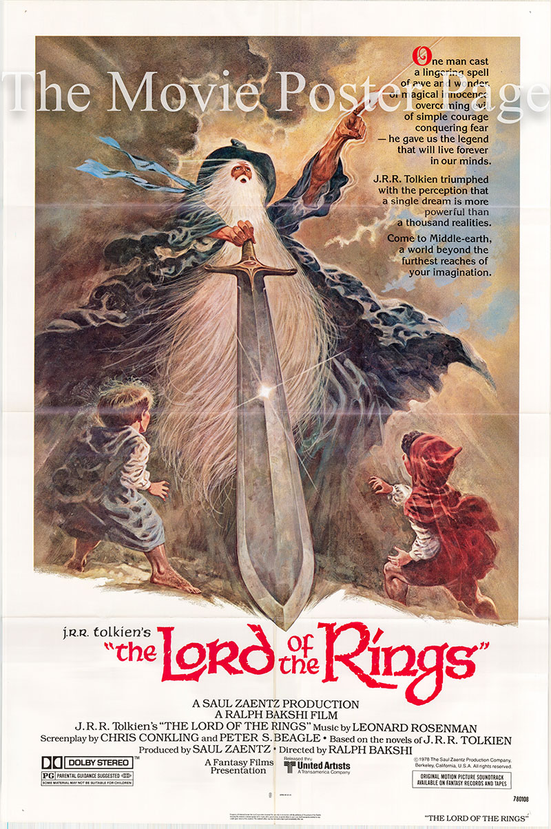 Pictured is a US one-sheet promotional poster for the 1978 Ralph Bakhshi film Lord of Rings starring Christopher Guard as the voice of Frodo Baggins.