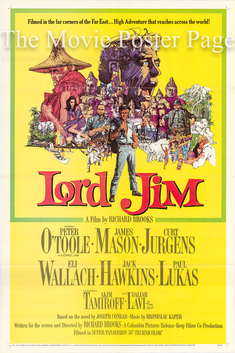 Pictured is a US one-sheet poster for the 1965 Richard Brooks film Lord Jim starring Peter O'Toole as Lord Jim.