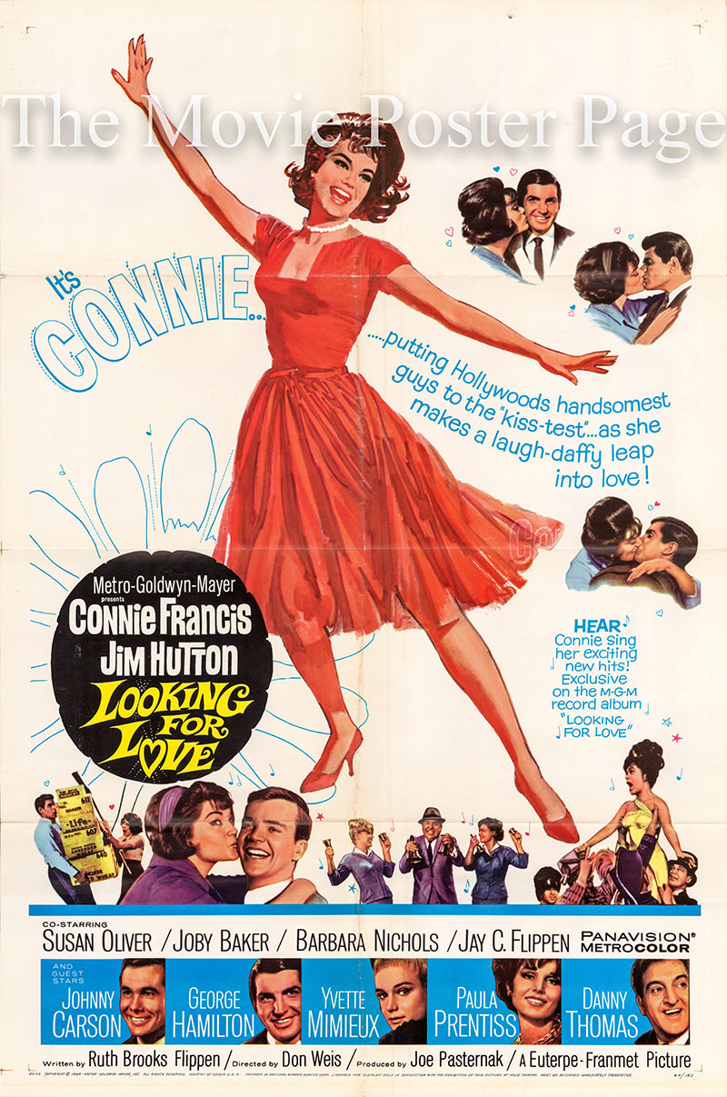 Pictured is a US one-sheet poster for the 1964 Don Weis film Looking for Love starring Connie Francis.