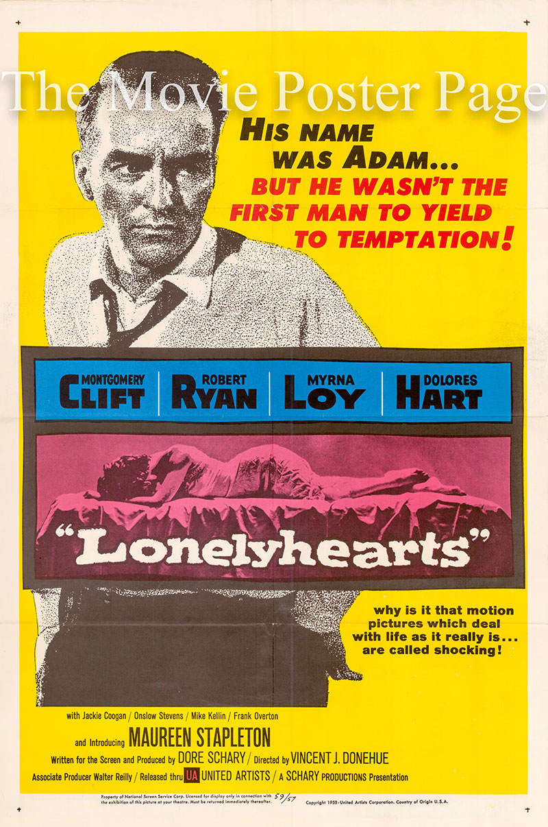 Pictured is a US one-sheet poster for the 1959 Vincent J. Donehue film Lonelyhearts starring Montgomery Clift.