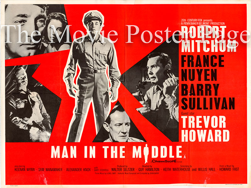 Pictured is a UK quad poster for the 1964 Guy Hamilton film Man in the Middle starring Robert Mitchum.