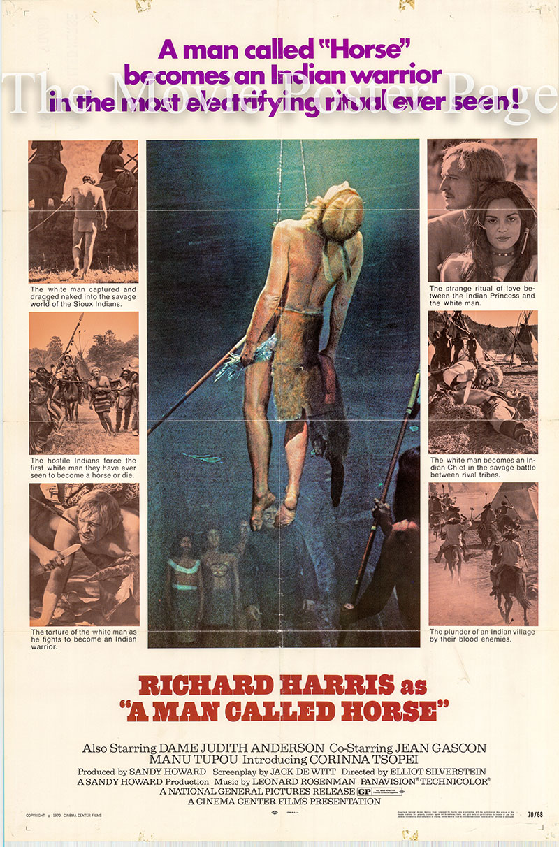 Pictured is a US one-sheet poster for the 1970 Elliot Silverstein film A Man Called Horse starring Richard Harris as John Morgan.