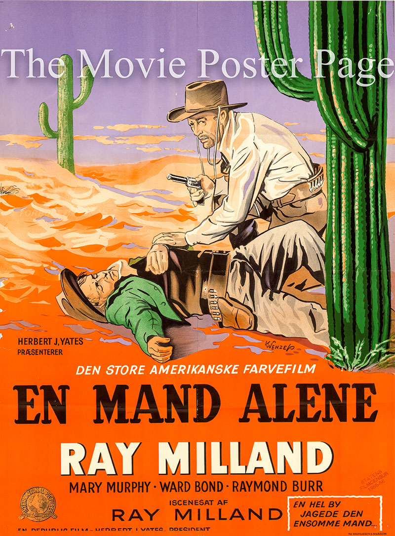 Pictured is a Danish one-sheet poster for the 1955 Ray Milland film A Man Alone starring Ray Milland as Wes Steele.