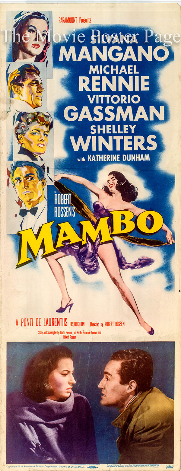 Pictured is a US insert promotional poster for the 1954 Robert Rossen film Mambo starring Silvana Mangano.